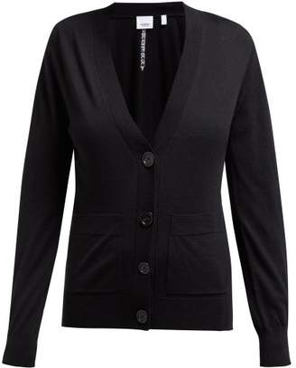 Burberry Logo Intarsia Merino Wool Cardigan - Womens - Black
