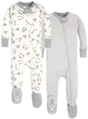 Burt's Bees Baby Set of 2 Organic Cotton Zip Front Footed Pajamas