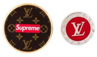 Louis Vuitton x Supreme 2017 City Badge Brooch Set