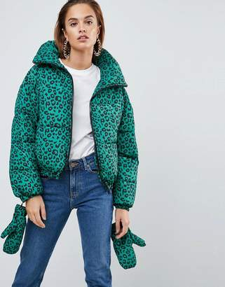 Asos Design Puffer Jacket with Mittens in Leopard Print