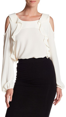 Pleione Cold Shoulder Ruffle Shirt $68 thestylecure.com