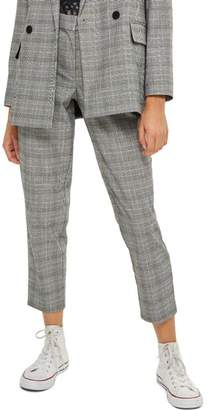 Topshop Check Taper Leg Trousers