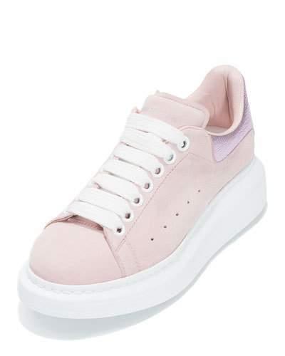 Alexander McQueenAlexander McQueen Suede Platform Low-Top Sneaker, Clover/Pale Pink