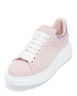 Alexander McQueen Suede Platform Low-Top Sneaker, Clover/Pale Pink $575 thestylecure.com