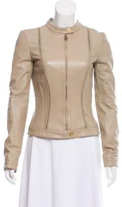 Versace Leather Zip-Up Jacket