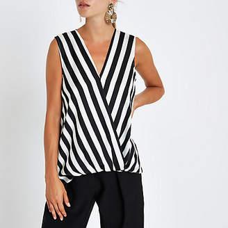 River Island Black stripe tuck front sleeveless blouse