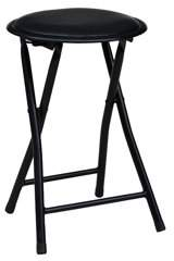 American Dream Home Goods Storage Solutions Cushioned Vinyl Black Folding Stool with Powder Coated Steel Tube Legs