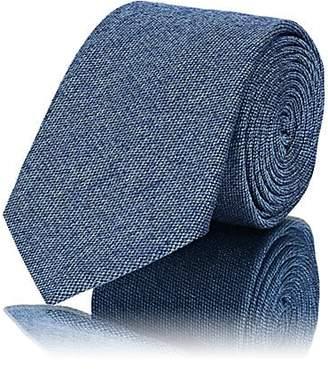 Barneys New York Men's Textured Silk-Cotton Necktie - Lt. Blue