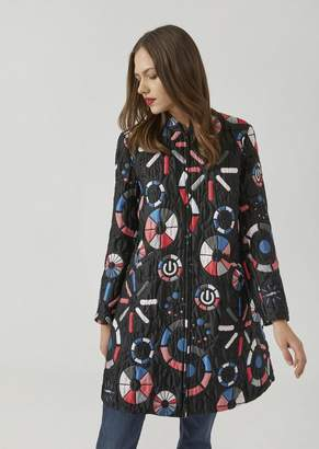 Emporio Armani Coat In Quilted Jacquard Fabric With Loading Motif