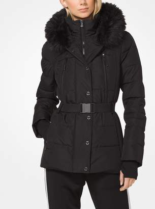 MICHAEL Michael Kors Faux Fur-Trimmed Belted Puffer Jacket