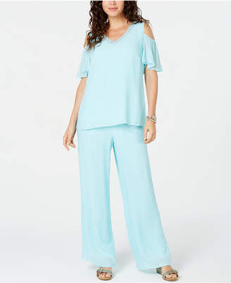 JM Collection Petite Embellished Cold-Shoulder Top