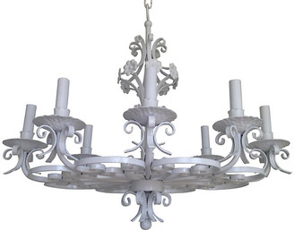 One Kings Lane Vintage Wrought Iron 8-Light Chandelier - C the Light Interiors