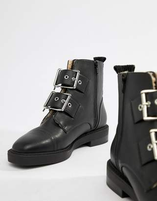 Asos Design DESIGN Appreciate faux shearling multi buckle boots