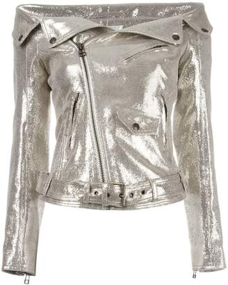 Faith Connexion off-shoulders glittery biker jacket