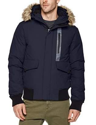 Royal Matrix Men's Down Bomber Jacket with Removable Faux Fur (