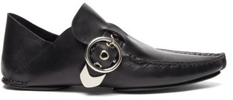 Loewe Shearling Lined Collapsible Heel Leather Loafers - Womens - Black