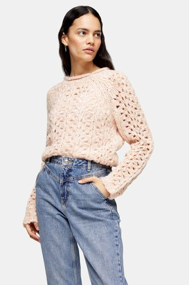 Topshop Pink Knitted Open Stitch Jumper