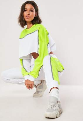 Missguided Lime Colorblock Reflective Co Ord Joggers