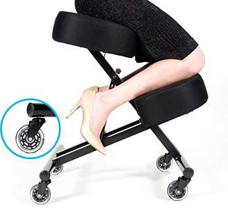 """Rollerblade Sleekform Kneeling Chair for Perfect Posture   Ergonomic Knee Stool Relieving Back & Neck Pain   Adjustable Height; Wheels   High Resilience 4"""" Foam; Washable Mesh Cushions   Office & Home"""