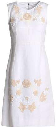 Dolce & Gabbana Lace Appliquéd Linen-Blend Canvas Mini Dress