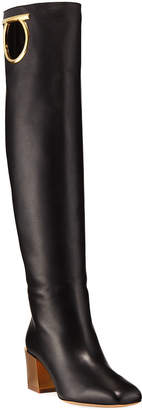 Salvatore Ferragamo Avio Knee-High Leather Boot