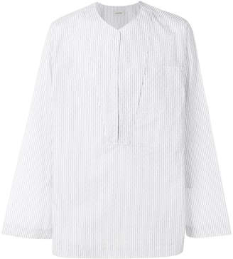 Lemaire stripe pull-over fitted shirt