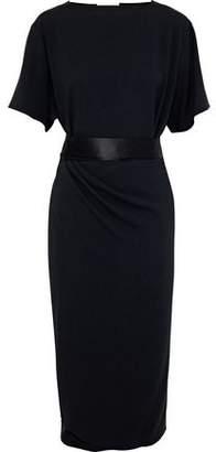 Vionnet Satin And Chiffon-Trimmed Gathered Crepe Dress