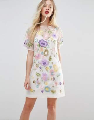 Asos DESIGN PREMIUM embroidered mesh t-shirt dress