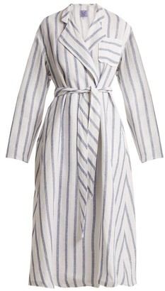 Thierry Colson Biarritz Striped Linen Blend Coat - Womens - Blue Stripe