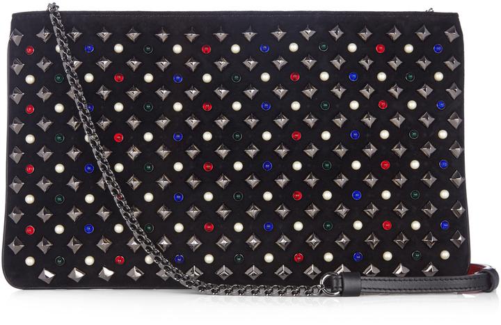 Christian Louboutin CHRISTIAN LOUBOUTIN Loubiposh spike-embellished suede clutch
