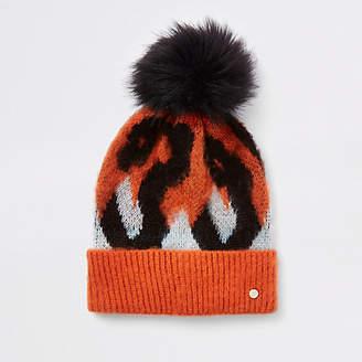 River Island Orange leopard print pom pom beanie hat