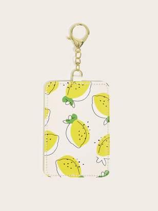 Shein Lemon Print Card Holder