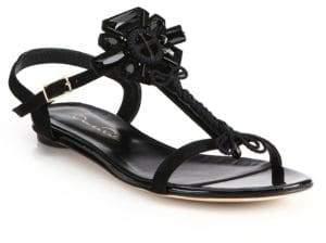 Oscar de la Renta Elena Embellished Suede Flat Sandals