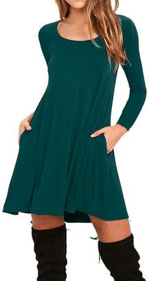 AUSELILY Women's Pockets Casual Swing T-shirt Dresses (M, Long sleeve-Dark Green)