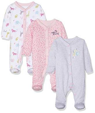 Mothercare Baby Girls Safari Sleepsuits - 3 Pack Bodysuit,(Manufacturer Size:86CM)