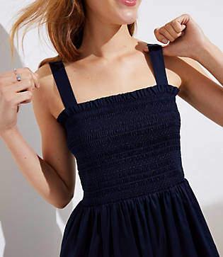 LOFT Petite Smocked Strappy Dress