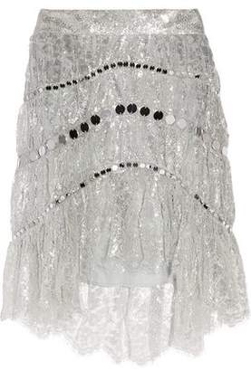Zimmermann Adorn Sequin-Embellished Metallic Lace Mini Skirt