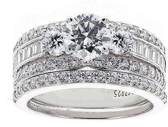 JCPenney FINE JEWELRY DiamonArt Cubic Zirconia Sterling Silver 3-Stone Bridal Ring Set