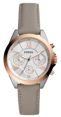 Fossil Modern Courier Midsize Chronograph Gray Leather Watch Jewelry