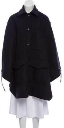Belstaff Wool Cape Coat Navy Wool Cape Coat