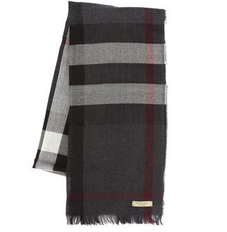 Burberry Charcoal Cashmere and Wool Signature Plaid Scarf (New with Tags)