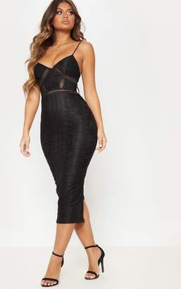 PrettyLittleThing Black Lace Mesh Stripe Insert Midi Dress
