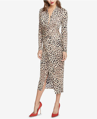 Rachel Roy Animal-Print Faux-Wrap Midi Dress
