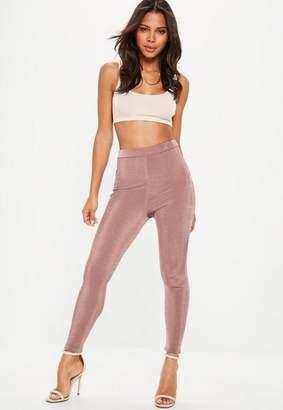 Missguided Pink Slinky Full Length Leggings