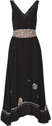 Derek Lam 10 Crosby Embellished Embroidered Silk Crepe De Chine Midi Dress