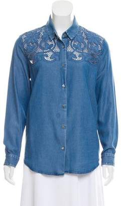 The Kooples Eyelet-Accented Chambray Top