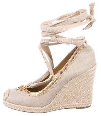 Tory Burch Logo Espadrille Wedges