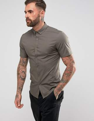 Asos Skinny Shirt In Khaki With Button Down Collar