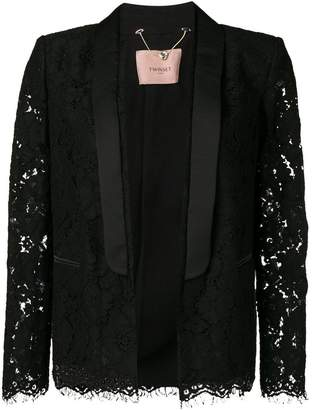 Twin-Set tailored lace embroidered blazer