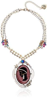 Betsey Johnson Cameo Pearl Pendant Necklace